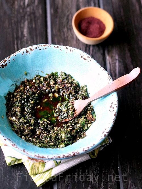 Middle Eastern-flavored marinade for steaks, with fresh herbs | FiestaFriday.net