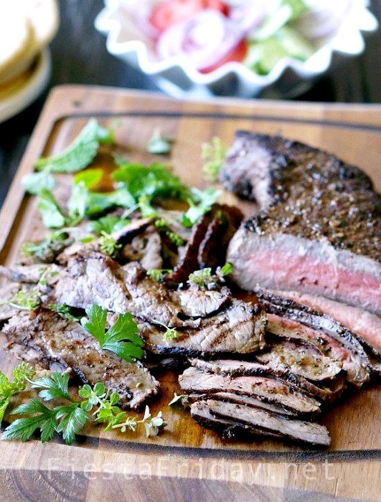 How to perfectly grill London Broil | FiestaFriday-net #steak #londonbroil #lebanese #middleeastern #gyro
