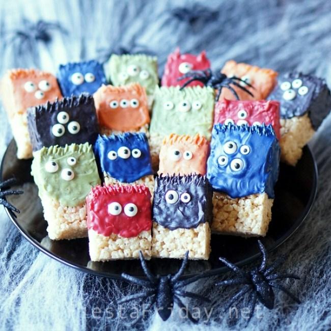 Halloween Krispie Treat Monsters | FiestaFriday.net