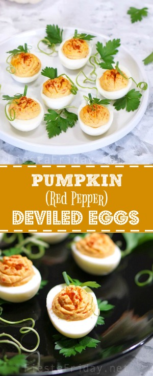 pumpkin-red-pepper-deviled-eggs | fiestafriday.net