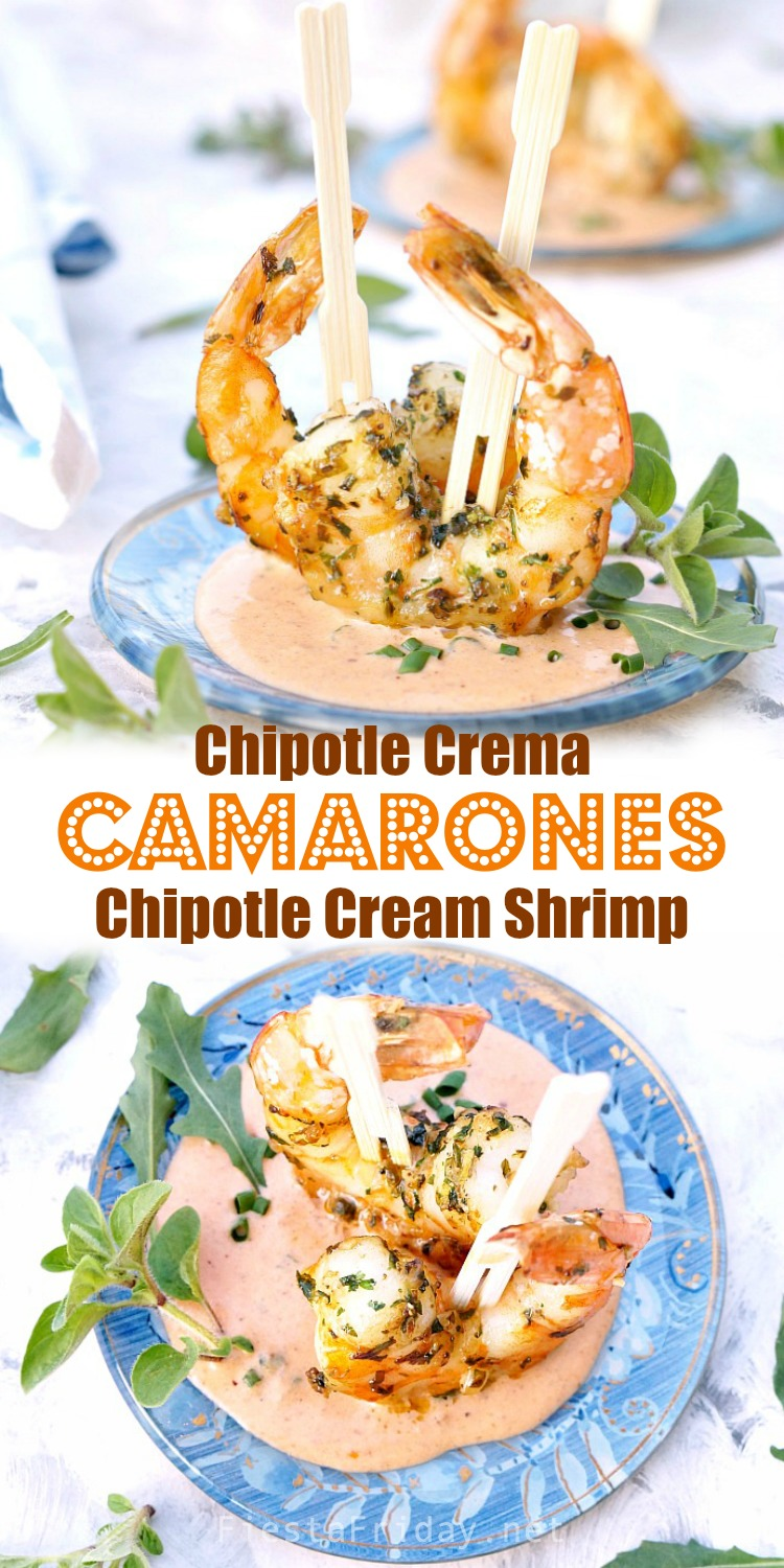 Camarones Chipotle Crema, which translates to Chipotle Cream Shrimp, is an easy yet elegant appetizer for a Cinco de Mayo celebration or any fiesta! #appetizer #camarones #shrimp #Cincodemayo #chipotle