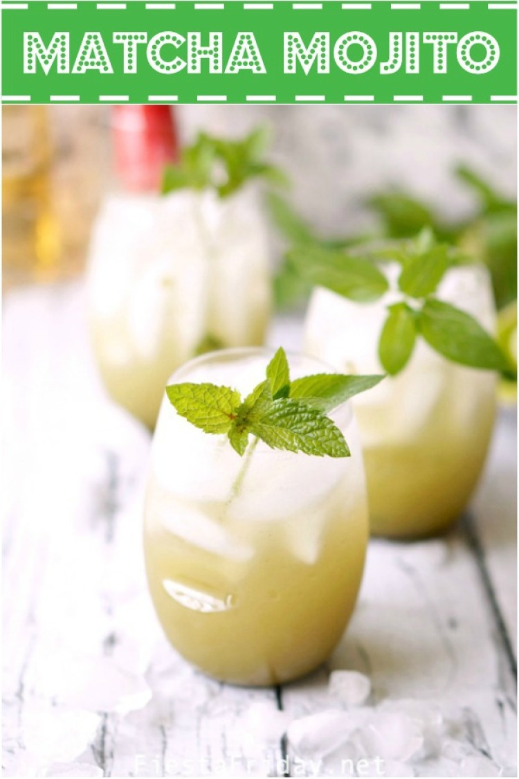 Matcha Mojito | It's important to stay hydrated and what can possibly be a better way of doing it than with this matcha mojito. It has matcha, it has mint... it's practically a health tonic! #mojito #matcha #mint #rum #cocktails #summerdrinks