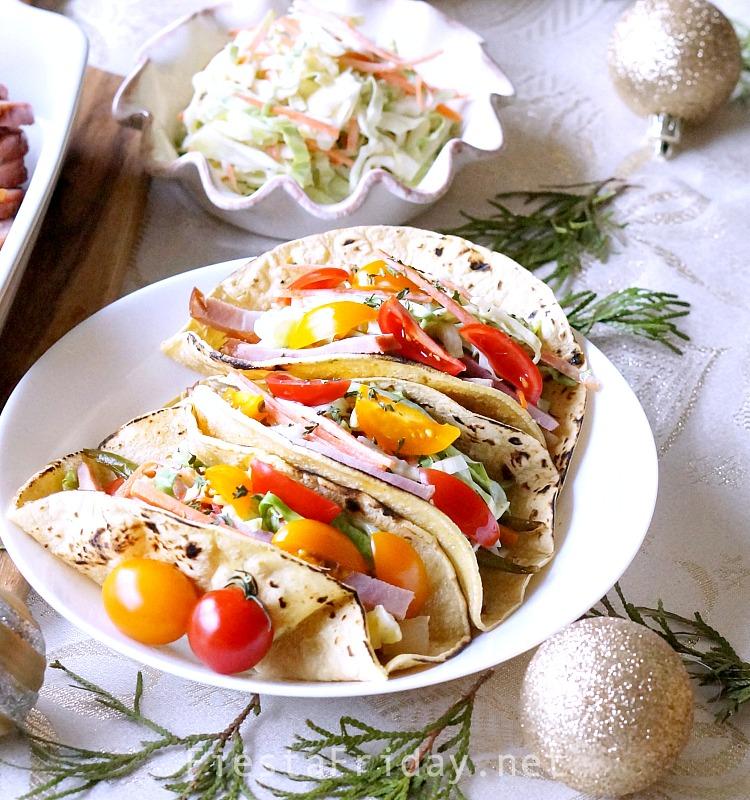 Turn your leftover ham into tacos! #ham #tacos #coleslaw