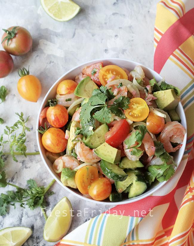 Shrimp Avocado Salad | FiestaFriday.net
