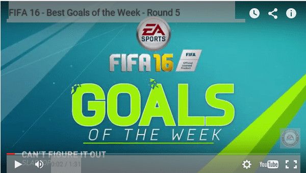 FIFA 16 Weekly Goals' Video