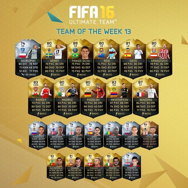 fifa16 haftanın takımı 13