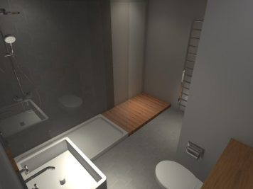 Basement Conversion - Main Bathroom Rendering by Fife Architects