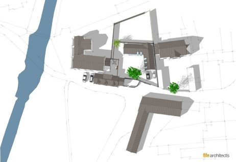 Aerial rendering prepared for the feasibility study in West Linton, Scottish Borders - Fife Architects