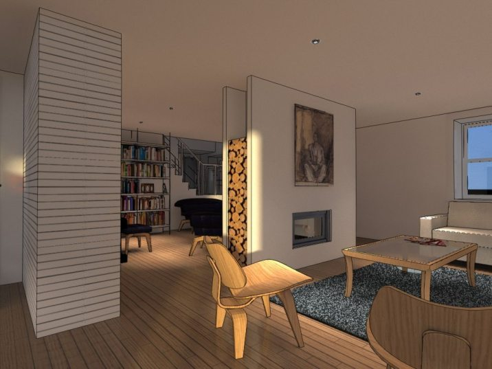 Living room with inset fire