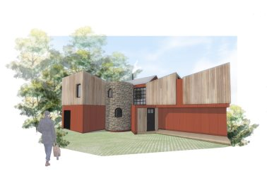 Entrance view, new build house