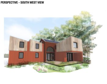Rear view of new build house