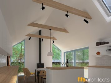 Dining space with wood stove
