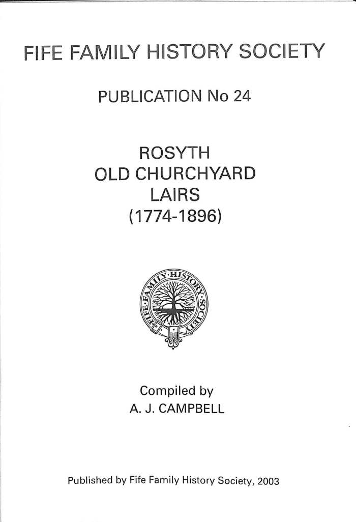 Publication 24, Rosyth Old Churchyard Lairs, 1774-1896