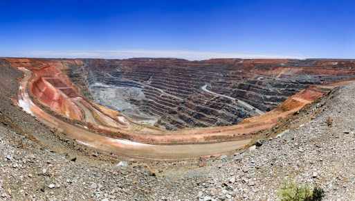 panorama of super fit gold mine in Kalgoorlie of Western australia with wide open pit underneath