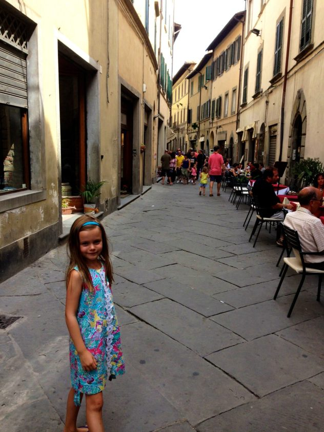 Walking in the cobblestone streets of Cortona, Tuscany.