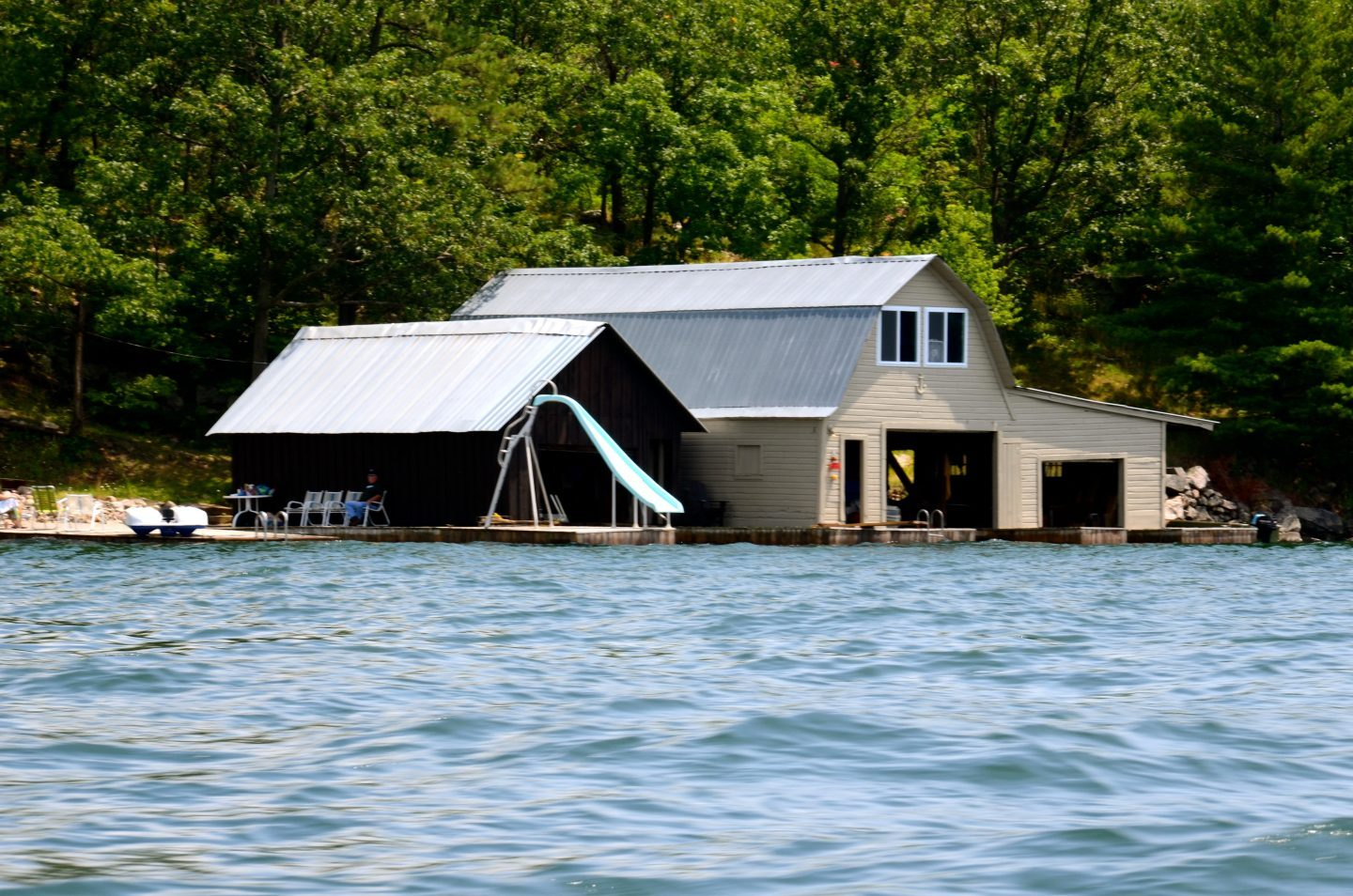 House with a water slide in the Thousand Islands.