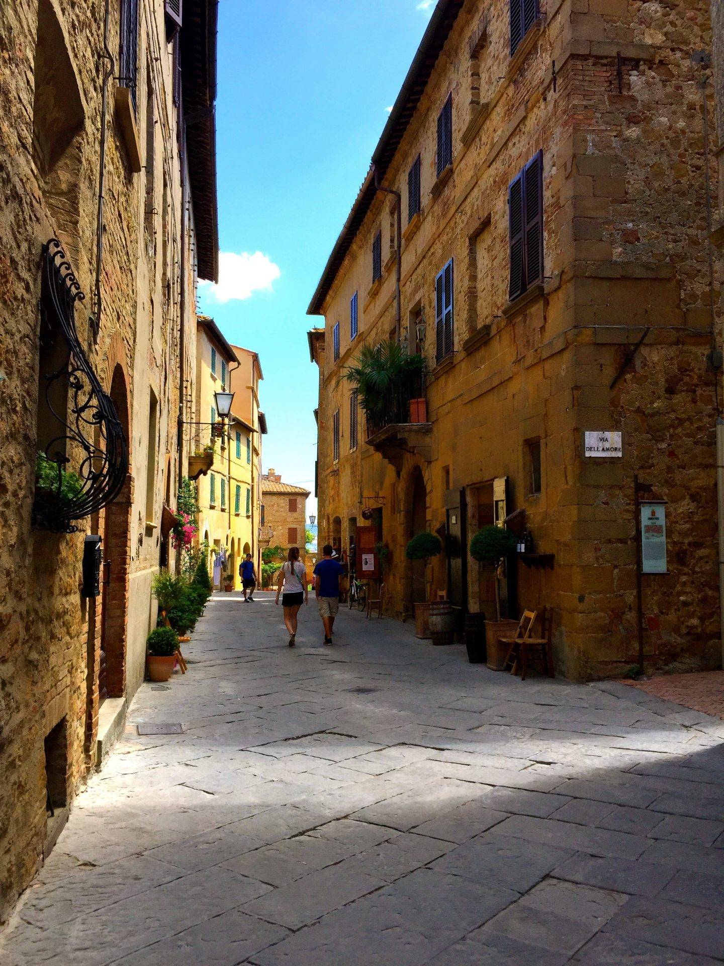 Walking around in Pienza Tuscany.