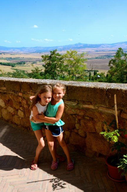 Girls with a view in Pienza Tuscany.