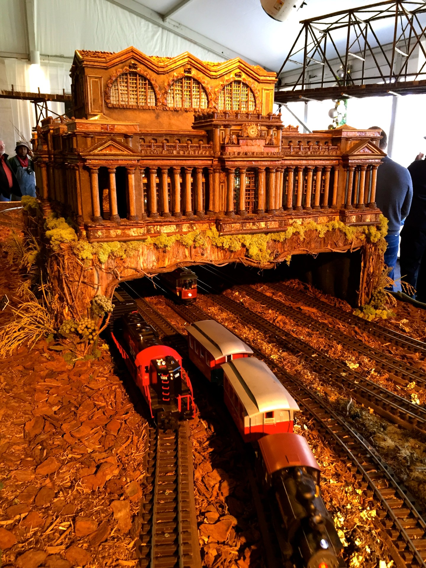 Trains on tracks at the Holiday Train Show at the New York Botanical Garden