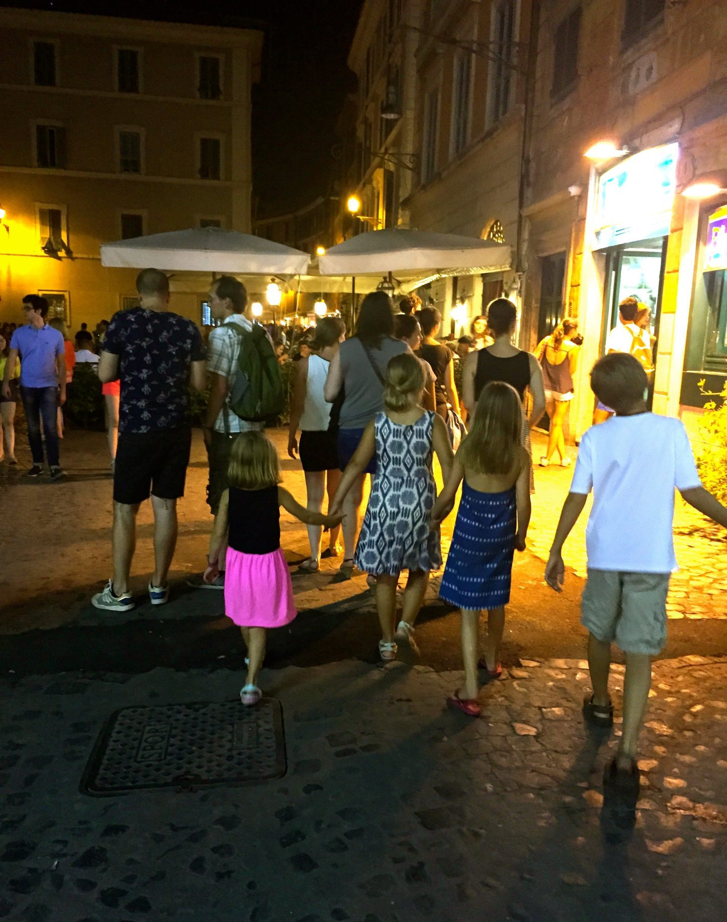 Walking the streets of Rome at night.