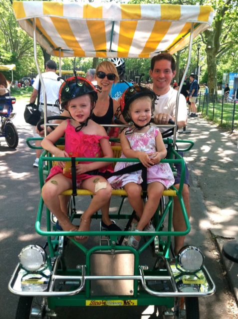 Family day out at Governors Island in New York.