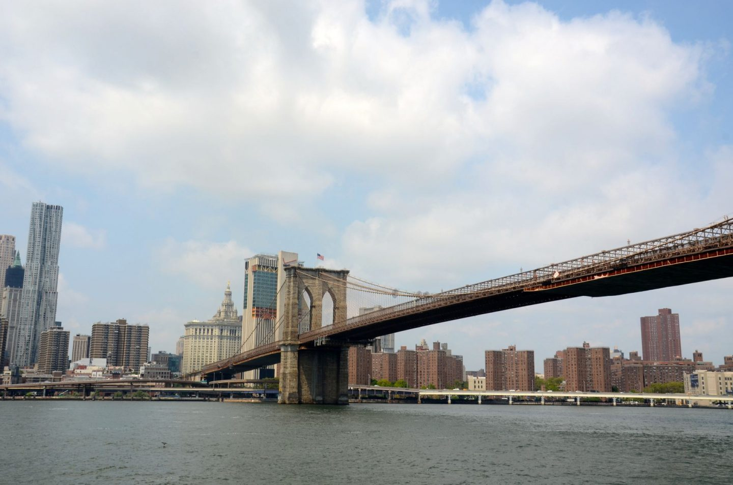 Looking at Brooklyn Bridge from the New York Water Taxi.