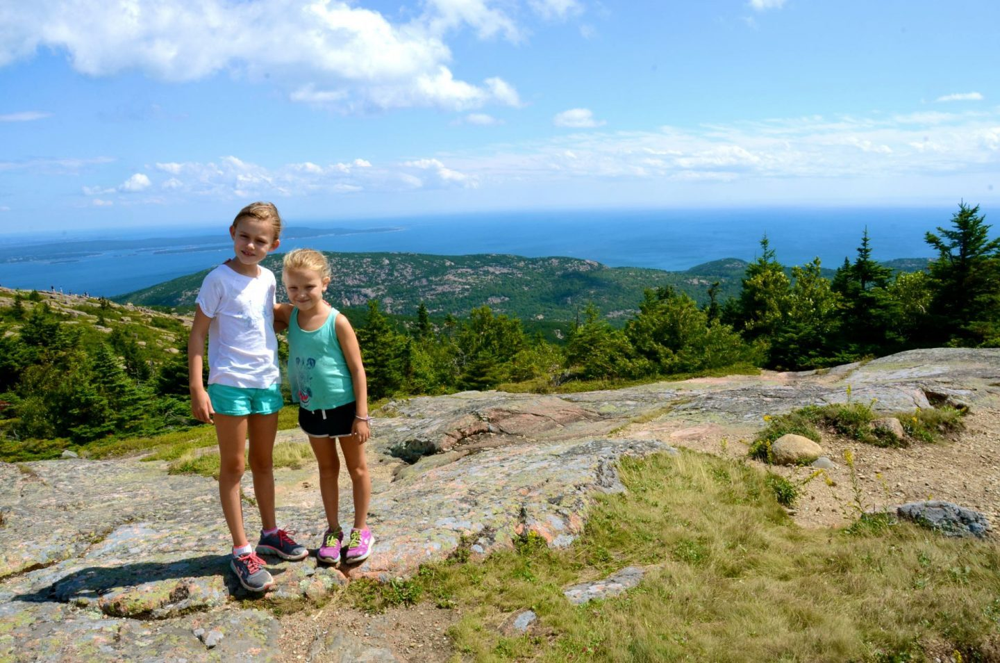 Acadia National Park with kids at the top of Cadillac Mountain