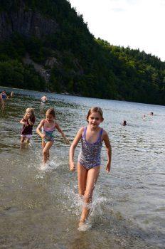 Swimming at Echo lake in Acadia National park