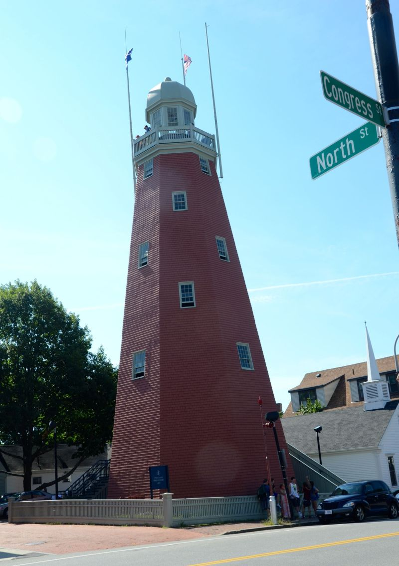 Climbing the observatory in Portland, Maine
