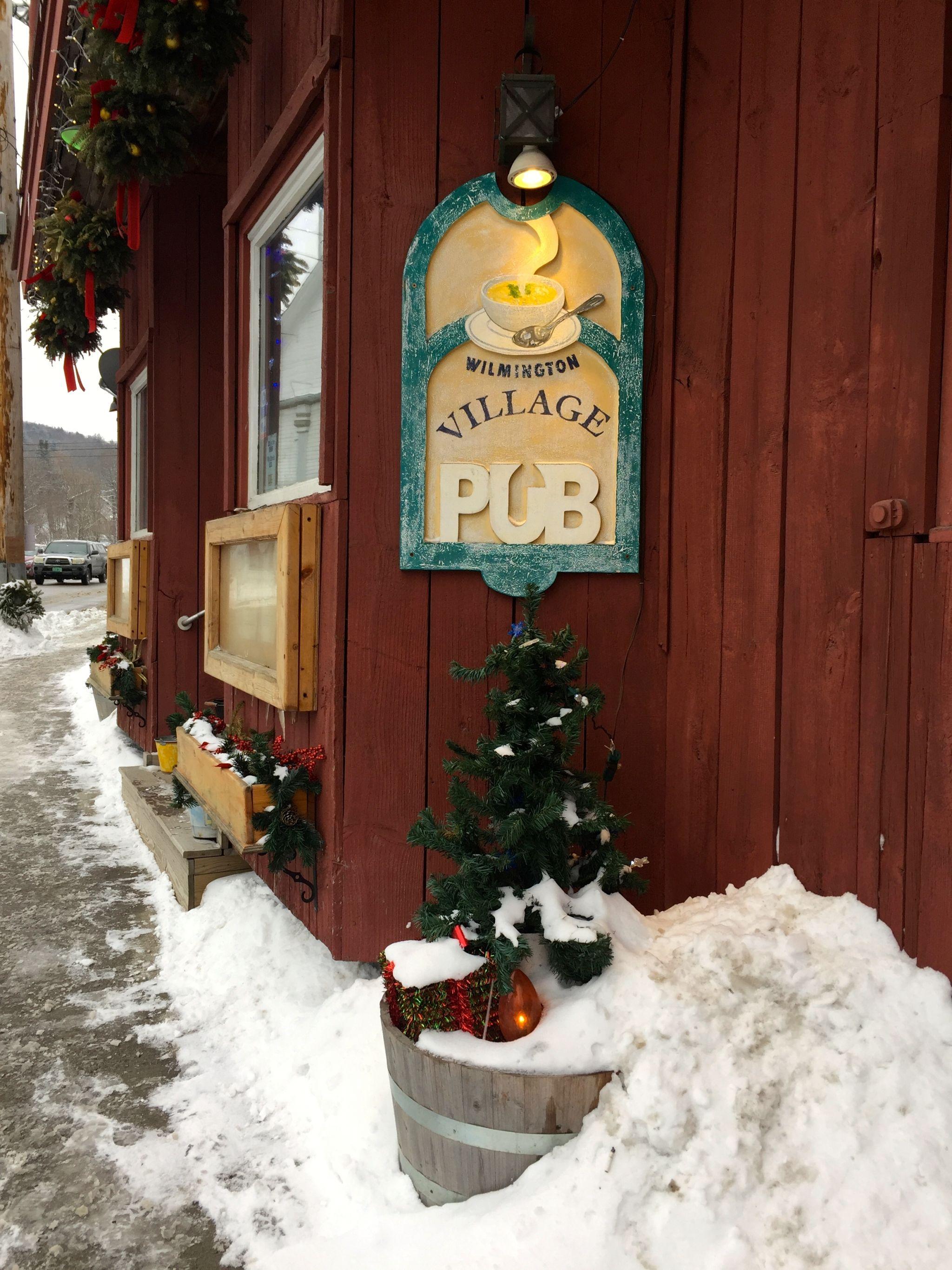 Pub laden with snow in Wilmington Vermont