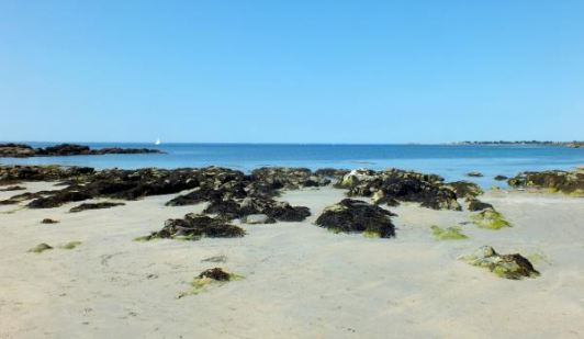 Beach in Finestere, Brittany, France on a summer family vacation.