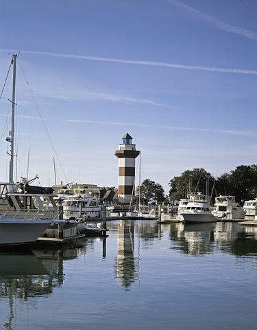 The iconic red and white lighthouse at Harbour Town on Hilton Head island.