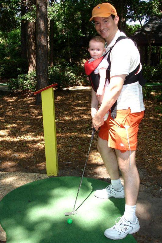 Playing mini golf on Hilton Head island.