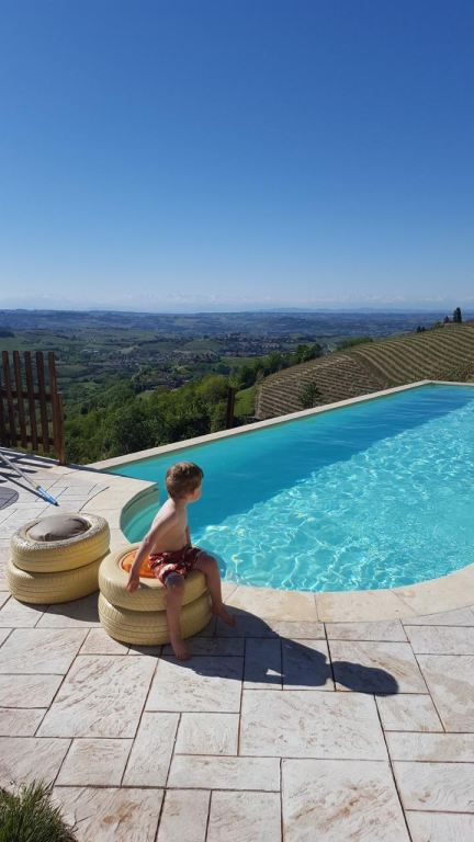 Hanging poolside in Piedmont Italy on a family summer vacation.