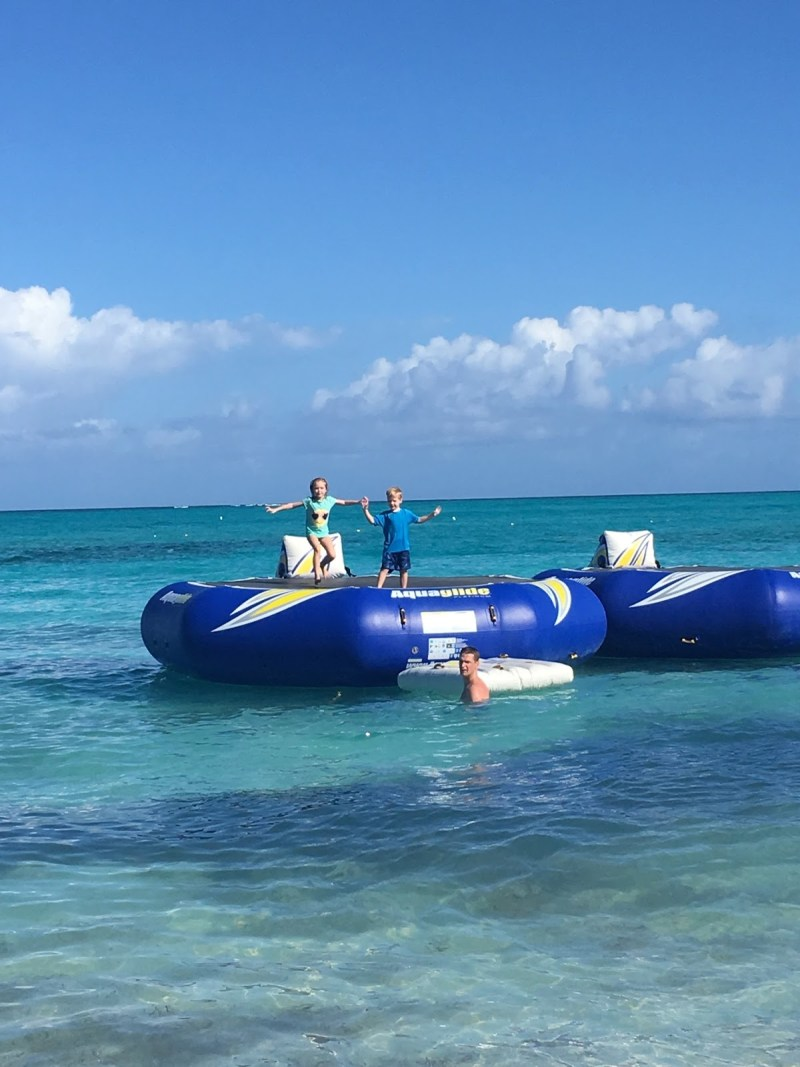 Water trampoline fun at Beaches resort on Turks and Caicos.