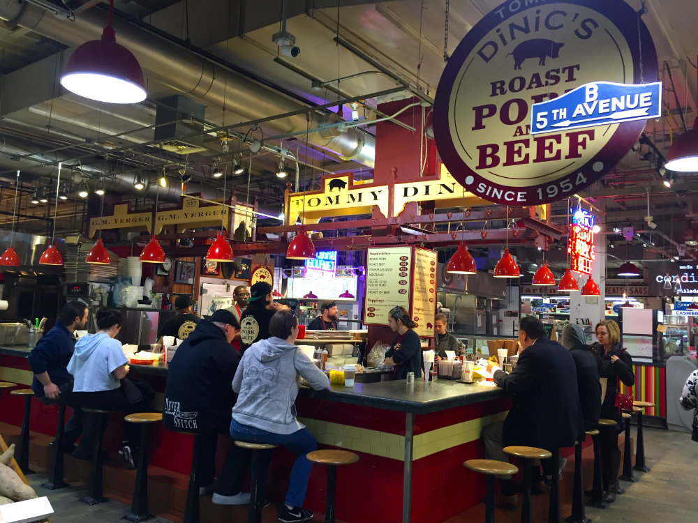 Things to do with kids in Philadelphia, eating lunch at Reading Terminal Market in Philadelphia.