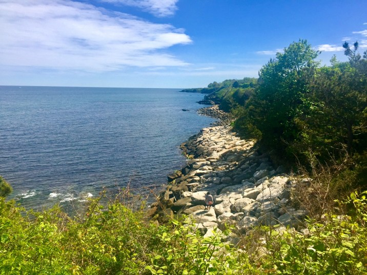 Walking along the Cliff Walk in Newport, Rhode Island.