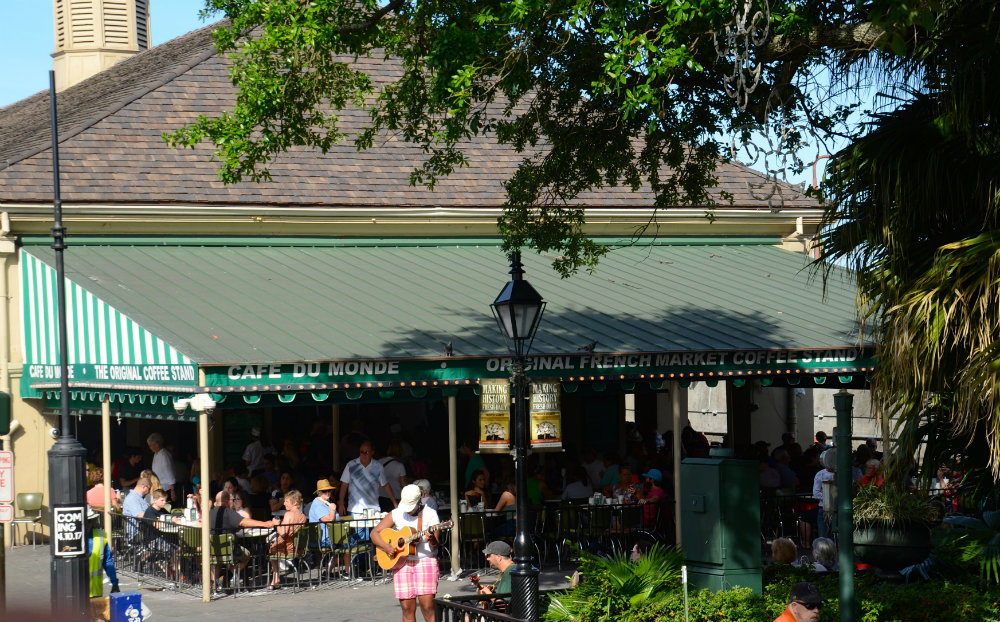 Looking out at Cafe du Monde from the hop on hop off bus in the French Quarter in New Orleans.