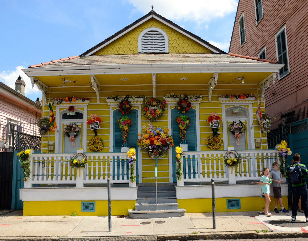House decorated with easter decor in the French Quarter in New Orleans.