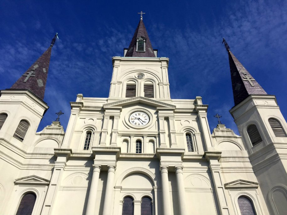 Looking up at St. Louis Cathedral in the French Quarter in New Orleans.