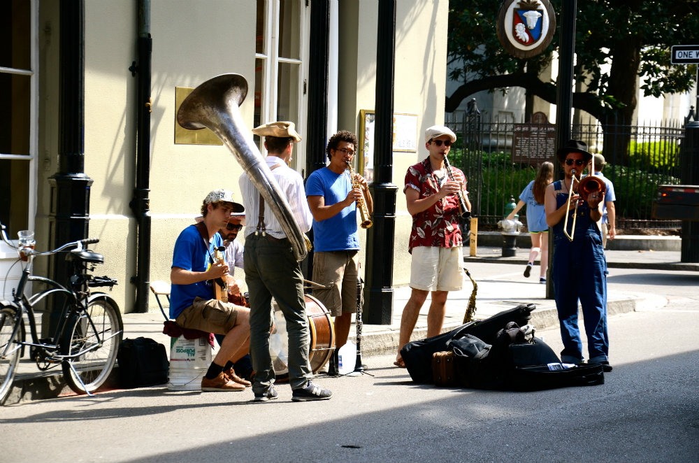 Listening to the street musicians in the French Quarter in New Orleans.