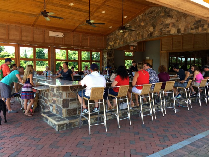 Checking out the outdoor bar at Willow Creek wine vineyards in Cape May, New Jersey.