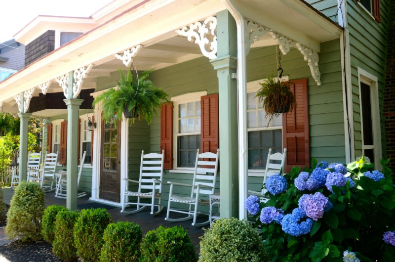 Admiring the front porches in Cape May New Jersey.
