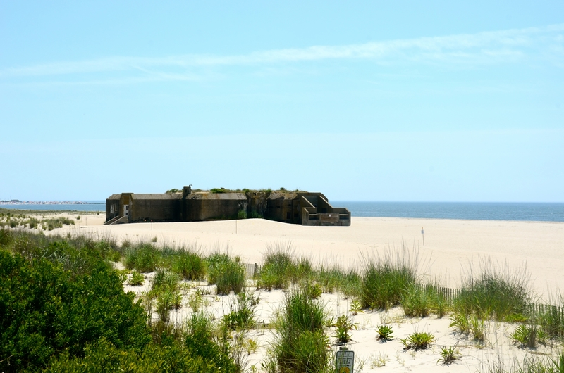 Checking out the World War II bunker in Cape May, New Jersey.