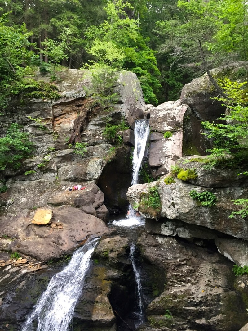 Hiking at Kent Falls State park in Litchfield County, Connecticut.