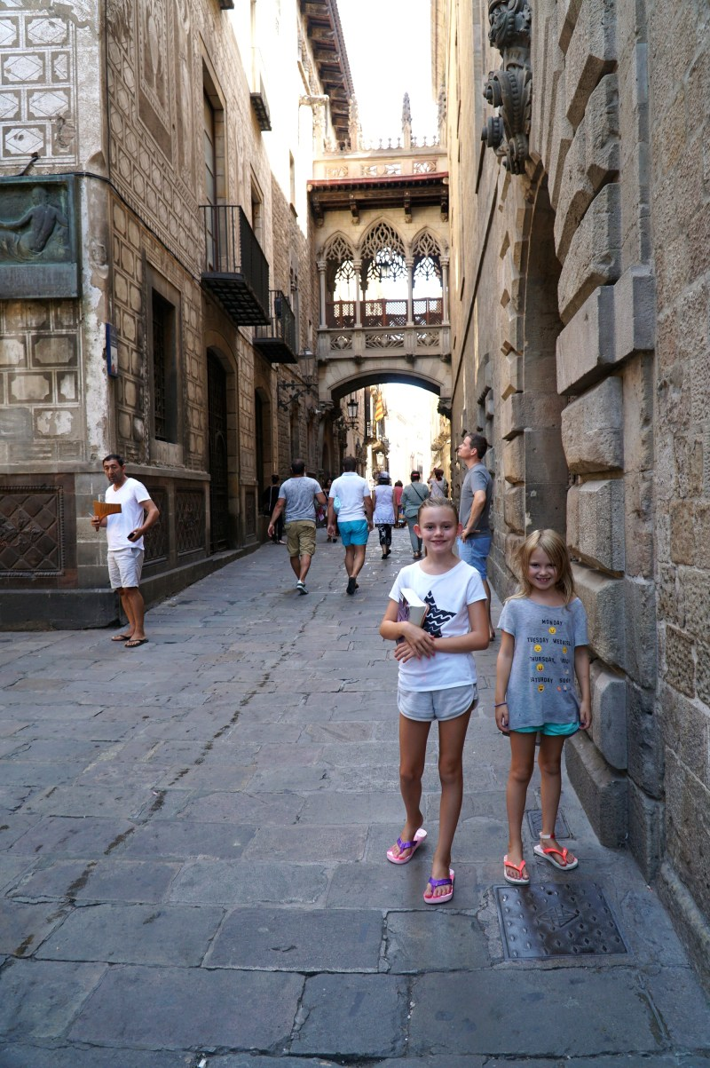 Girls in the Gothic Quarter in Barcelona.