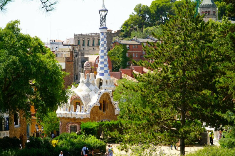 Gingerbread house in Park Guell by Gaudi in Barcelona.