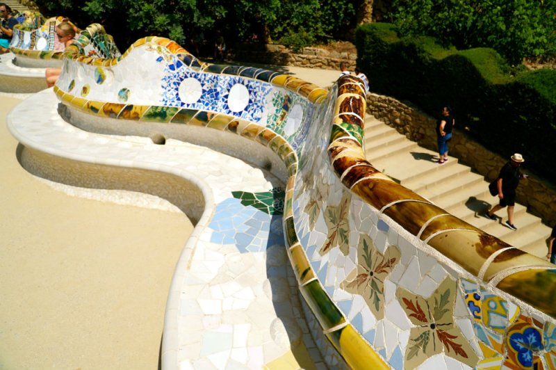 Mosaic bench at Park Guell by Gaudi in Barcelona.