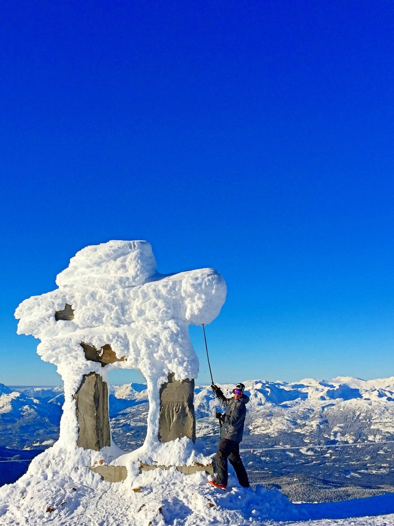 Snow structure atop Whistler mountain in Canada.