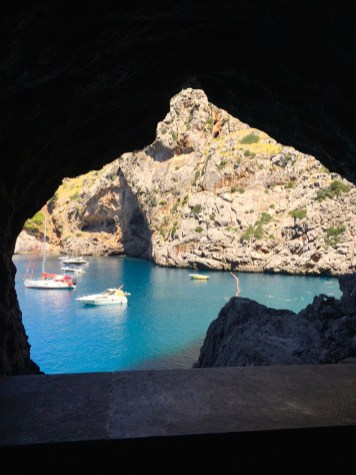 View of water from tunnel in Western Mallorca.